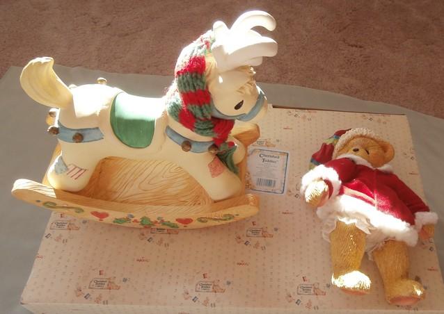 Rocking horse Cherished Teddies 1992 Cherished Teddies Cherished Teddies Christmas Figurine Bear on rocking horse Morethebuckles